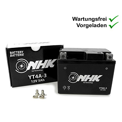 Wartungsfreie Gel Batterie 5Ah kompatibel mit Gilera Runner 50 SP DT Pure Jet/DNA (YT4A-3)