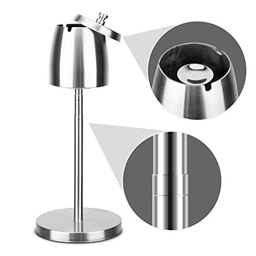 "lcfun Outdoor Ashtray for Cigarettes Floor Standing Ash Tray with Lid Smokeless Ashtrays Stainless Steel Windproof Ash Holder for Patio Backyard Outside Indoor 8.58"" to 22.13"""