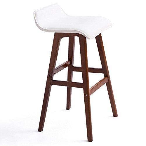 ZHANGRONG- Tabouret de bar avec assise en PU et structure en bois, dossier confortable et repose-pieds lot de 2 -Tabouret de canapé (Couleur : Marron, taille : 40 * 40 * 65cm)