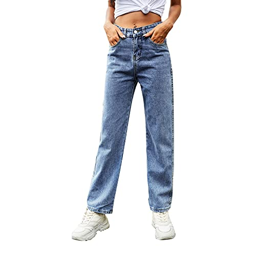 WAo Pantalones vaqueros sueltos de cintura alta para mujer, de longitud ajustable, pantalones vaqueros de verano casuales de pierna ancha, pantalones de mezclilla elásticos para novio