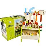PETRLOY Caja de herramientas de madera y juego de accesorios Kit de juego de simulación Juguetes educativos de construcción para niños, Caja de herramientas portátil de bricolaje de madera Set de herr