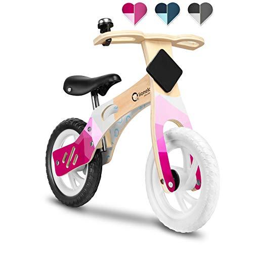 Lionelo Willy Laufrad Holz Laufrad ab 2 Jahre bis zu 25 kg Verstellbarer Sattel 12 Räder Lenkschloss Klingel Schild mit Kreide zum Dekorieren Ultra Leicht (Rosa)