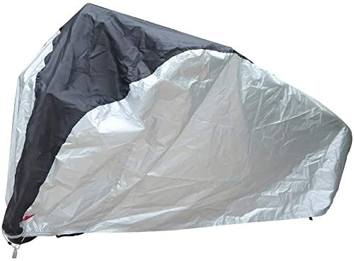 ZWXDMY Comfortable Bicycle Cover Oxford Cloth Bike Cover with Lock-Holes for Mountain Bike Road Bike Rain Cover Waterproof Anti-UV (Color : Silverandblack, Size : X-Large)