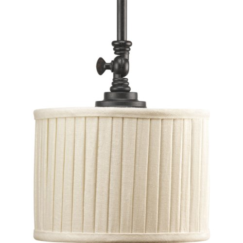 Progress Lighting P5256-84 1-Light Mini-Pendant with Drum Shades in Cream Linen Fabric and Soft Side Pleats, Espresso