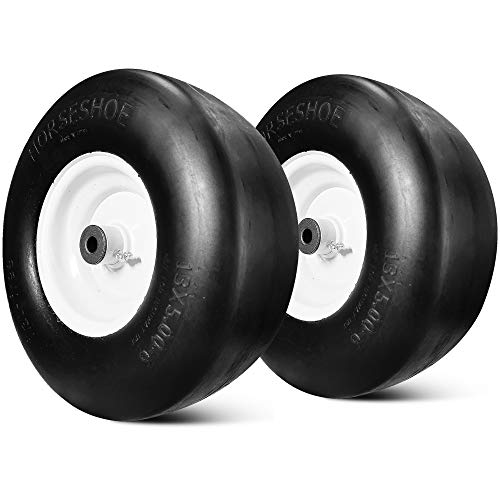 """2 New Solid Commercial 13x5.00-6 Flat-Free Lawn Mower Smooth Tires with Steel Rim for Lawn Mower Garden Tractor - Hub 3.25""""-5.9"""" with 3/4"""" Grease Bushing 135006 T161"""