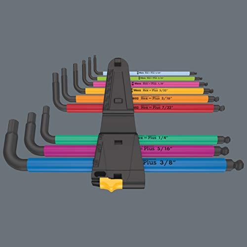Wera 05022640001-950/9 Hex-Plus Multicolour Imperial 2 L-Key Set, Imperial, BlackLaser, 9 Pieces