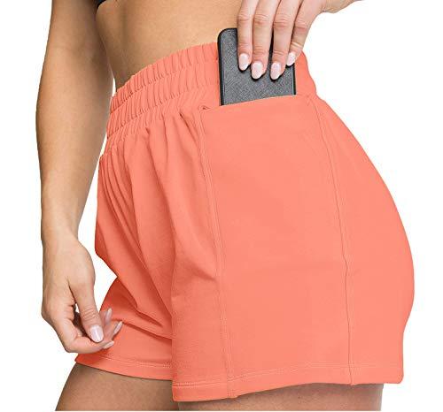 Women's Shorts Elastic Waist Athletic Shorts Sports with Pockets Orange L