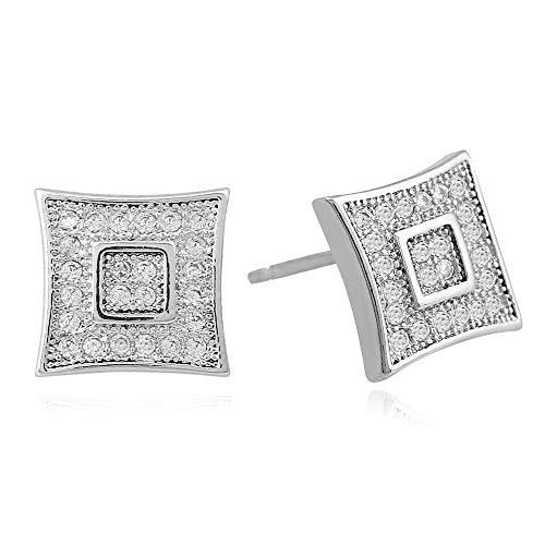 Herren Hip Hop Ohrstecker Ohrring Kupfer Material Stein Iced Out Square Ohrring Männer Rock Schmuck Silber Farbe