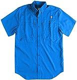 Reel Legends Mens Saltwater II Short Sleeve Shirt Large Money Blue