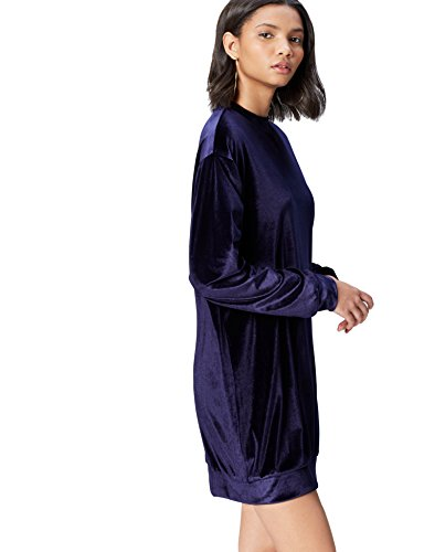 Amazon-Marke: find. Kleid Damen Velours Oversize- und Sweatshirt-Schnitt, Blau (Navy), 34, Label: XS