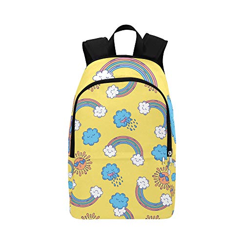 DKGFNK Kids Backpack Rainbow Sun Cloud Acitive Durable Water Resistant Classic Cool Daypacks College Bags for Girls Best Packable Daypack College Bag for Boys