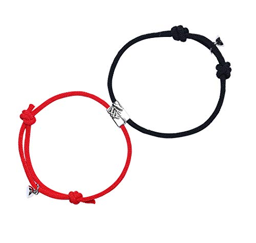ABONDEVER 2 PCS Magnetic Mutual Attraction Couple Bracelet Adjustable Handmade Vow of Eternal Braided Rope Jewelry Gifts for Lovers(Black Red HSSM)
