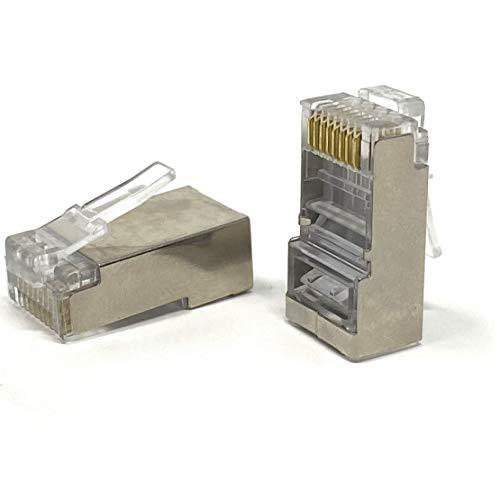 Mr. Tronic Conectores RJ45 | 8P8C | Enchufe Modular (100 Unidades, CAT6 STP)