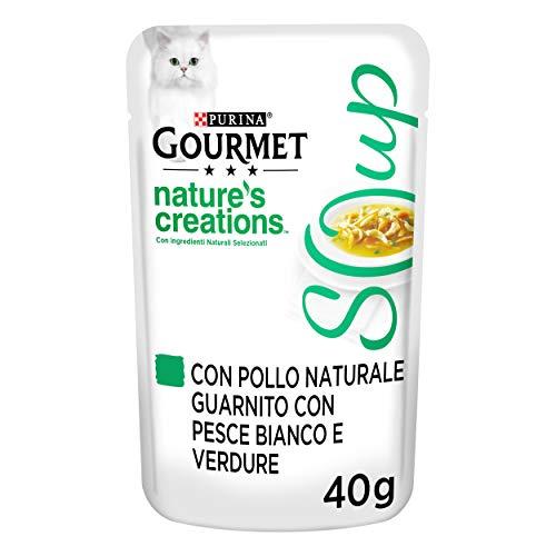 PURINA GOURMET NATURE'S CREATIONS Soup Gatto Delicato Brodo con Pollo Naturale, Guarnito con Pesce Bianco e Verdure, 32 Buste da 40 g Ciacuna, Confezione da 32 x 40 g