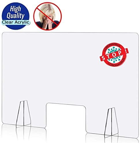 Schutzhustenschutz, durchsichtige Plexiglasfreistehende Schild für Zähler, Schreibtisch, Empfang, Kasse, Büro (70x60 cm)