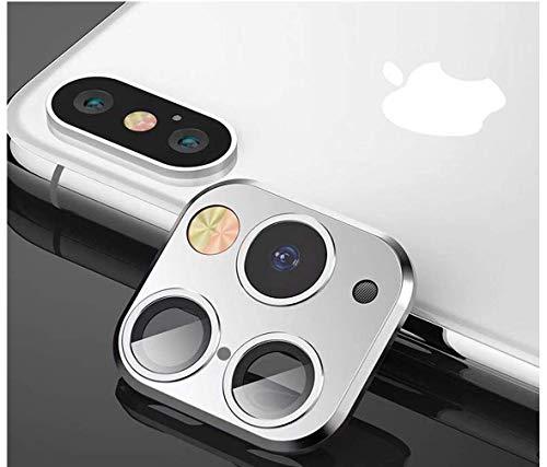 FTYSXP Geändertes Kameraobjektiv Sekunden Wechselcover für iPhone X XS XR MAX Aufkleber Gefälschte Kamera für iPhone 11 Pro Max Metallschutzfolie Wechsel zu iPhone pro/Max (Silber)