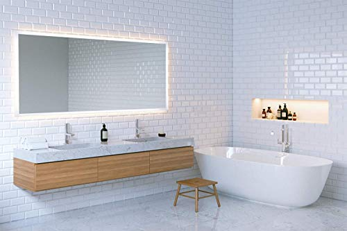 Badspiegel Maria mit lichtleitendem Acryl-Streifen und Sensorschalter 80-160 cm breite und 60 cm Höhe, Badezimmerspiegel Wandspiegel Lichtspiegel Spiegel (100 x 60 cm (BxH))