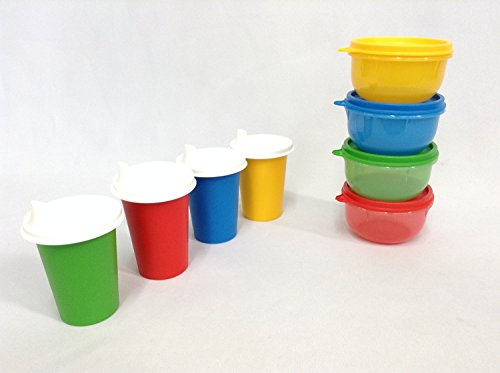 Tupperware 4 Ideal Little Bowl Set, 4 Bell Tumblers with 4 Domed Sipper Sippy Seals in Primary Colors (12 Pieces)