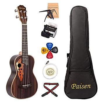 Paisen 23 inch Hawaii Concert Ukulele Set Beginner Rosewood Ukelele for Adults With Tuner Gig Bag Aquila Strings Capo Strap Picks Full set of Ukele Accessories