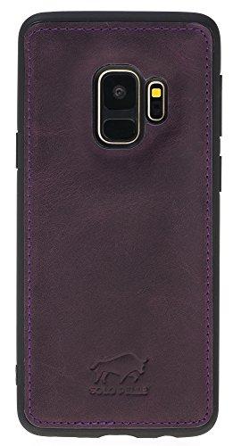 Solo Pelle Lederhülle für das Samsung Galaxy S9 Hülle, Schutzhülle aus echtem Leder, Model: Stanford in Vintage Lila