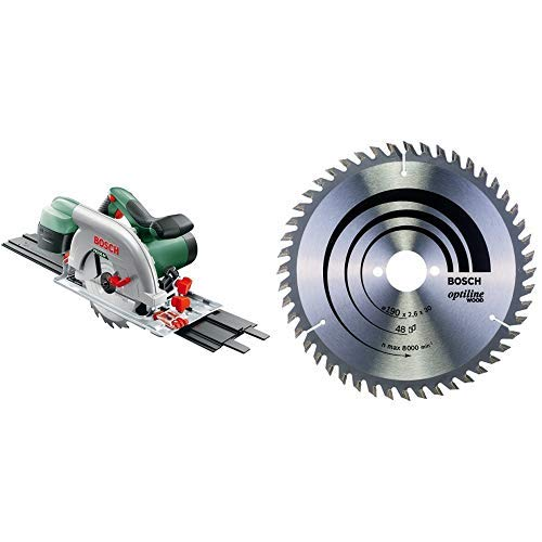 Bosch - PKS 66 AF - Sierra circular + 2 608 640 617 - Hoja de sierra circular Optiline Wood - 190 x 30 x 2,6 mm, 48 (pack de 1)