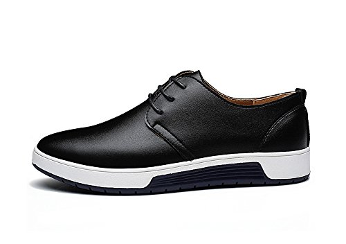 ZZHAP Men's Casual Oxford Shoes Breathable Flat Fashion Sneakers 02Black US 11.5