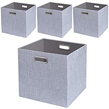 Foldable Storage Bins,13x13 Storage Cubes Basket Containers for Shelf Cabinet Bookcase Boxes,Thick Fabric Drawers,4pcs Sliver Grey