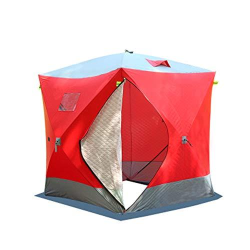 Tienda De Pesca En Hielo Portátil Impermeable Frío Viento Resistente Mantener Caliente 300D Espesar Tela Oxford Tienda De Pesca De Invierno Carpa De Pesca En Hielo Refugio 70.8X70.8X78.7 Inch,Rojo