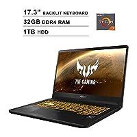 ASUS TUF 17.3 Inch FHD 1080p Gaming Laptop - AMD Ryzen 7 3750H up to 4.0 GHz, NVIDIA GeForce GTX 1650 4GB, 32GB DDR4 RAM, 1TB HDD, Backlit KB, WiFi, Bluetooth, HDMI, Windows 10
