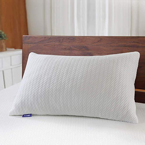 Sweetnight Bed Pillows for Sleeping-Adjustable Bamboo Charcoal Shredded Memory Foam Pillow with Removable Cooling Bamboo Pillow Case for Side/Back/Stomach Sleeper,Full Support& Neck Pain Relief,Queen