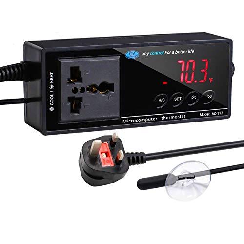 LXTaoler Reptilien-Thermostat, Temperaturregler mit Saugnapf, unterstützt 1500 W Elektrogeräte/Aquariumheizungen/Lukenheizungen/Reptilienheizungen/Gefrierschrankfächer