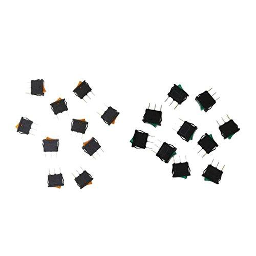 F Fityle Amarillo, Verde, Amarillo, Coche, 12v, 10a, Coche, Barco, Coche, Encendido/Apagado, Interruptor Basculante
