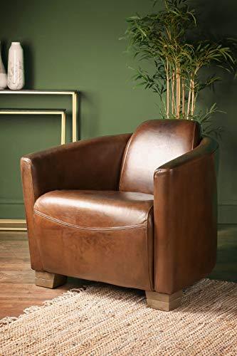 Whaleycorn Silla de cigarro de cuero brasileño, estilo vintage, sillón ocasional con patas de roble