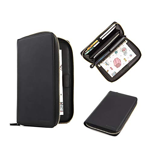 All-in-One Leather Cash Envelopes Wallet with 12 Cash Envelopes & 12 Two Sides Budget Sheets for Tracking of All Your Spending