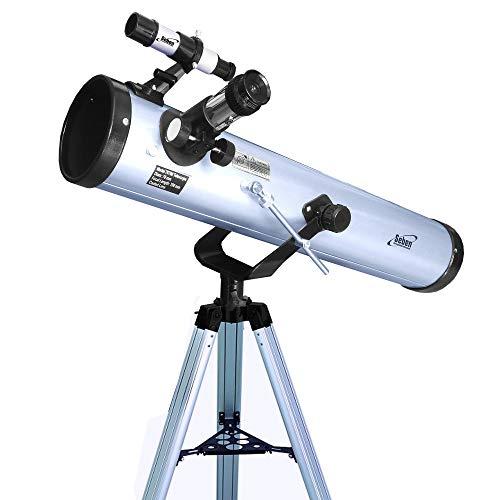 Seben 76/700 AZ - Telescopio astronómico de Espejos para niños Que Incluye un trípode de Aluminio y un Gran Juego de filtros para el Ocular