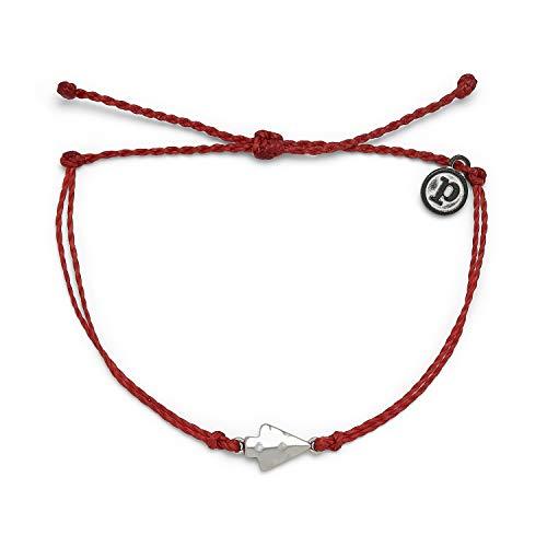 Pura Vida Silver Antique Arrowhead Bracelet - 100% Waterproof, Adjustable Band - Brand Charm, Red