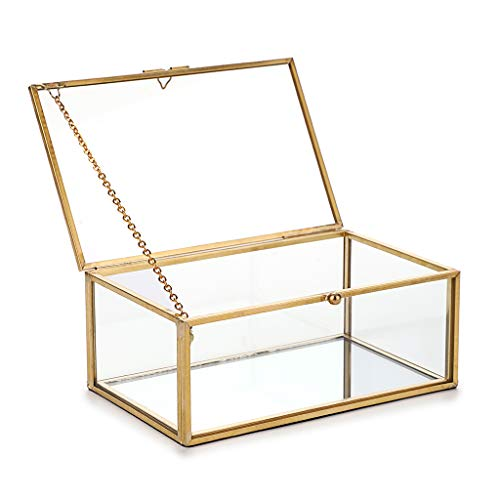 Hipiwe Vintage Glass Keepsake Box, Rectangle Jewelry Display Organizer Box Vanity Lidded Box Home Decor Accent Decorative Box for Storage Trinket Rings Bracelet