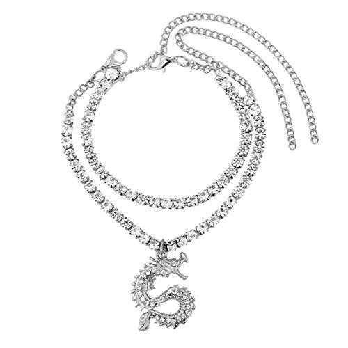 XKMY Tobillera para mujer con cristales brillantes, cadena de tenis para mujer, color dorado, plateado, diamantes de imitación, cadena de pie, joyería al por mayor (color metálico: 002902SL)