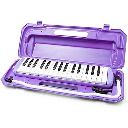 鍵盤ハーモニカ (ラベンダー) 32鍵 メロディー ピアノ 多功能 立奏唄口 卓奏唄口 軽量 楽譜シール付き
