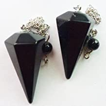 Healing Crystals India: Multifaceted Black Tourmaline Pendulum Reiki Cleansed and Charged 1 Piece