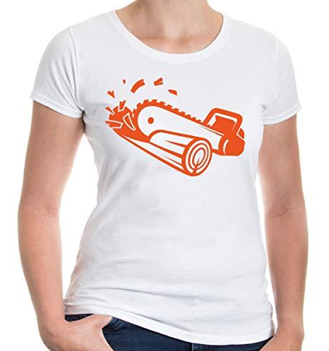 Girlie T-Shirt Kettensäge-S-white-orange