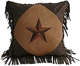 HiEnd Accents Star Western Pillow, 18 by 18-Inch, Dark Tan