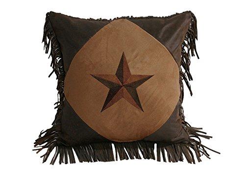 HiEnd Accents Star Western Pillow, 18 by 18-Inch, Dark Tan