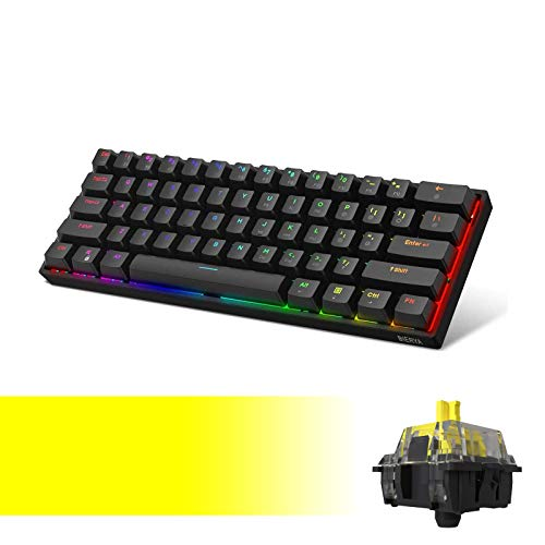 DK61E 60% Mechanical Gaming Keyboard with Yellow Gateron Optical Switch, RGB Backlit Wired PBT Keycap Waterproof Type-C Compact 61 Keys Computer Keyboard with Full Keys Programmable by DIERYA