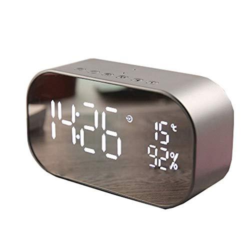 Ganquer Despertador con Bluetooth, superficie de espejo, LED, altavoz dual, inalámbrico, reloj de mesa, dormitorio, oficina, viaje, despertador digital (plateado)