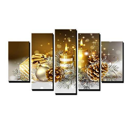 PEJHQY Moderne Kunst Dekorative Malerei Ölgemälde Weihnachten fünf Stück Goldkerze Wandmalerei Leinwand Malerei,Leinwanddruck 5