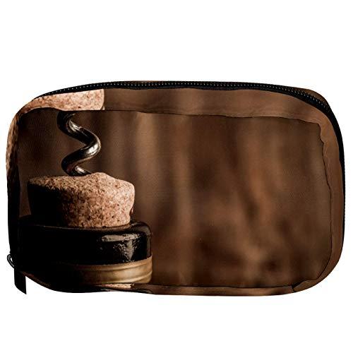 Bolsas de cosméticos para botella de vino con corcho de madera práctica bolsa de viaje Oragniser bolsa de maquillaje para mujeres y niñas