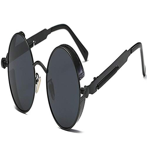 Sunglasses Gafas De Sol Góticas Steampunk para Hombre Gafas De Sol con Revestimiento De Espejo Gafas De Sol De Círculo Redondo Gafas VintageUv400 Negro