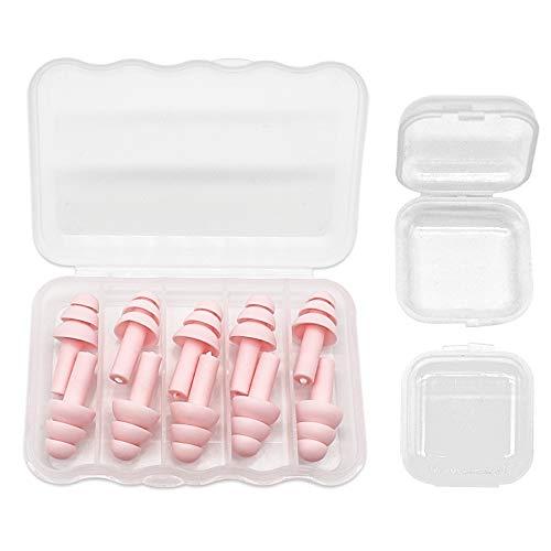 KostaTech tapones para los oídos 5 pares, tapones para los oídos suaves de silicona a prueba de agua, para leer, dormir y nadar(Rosado)