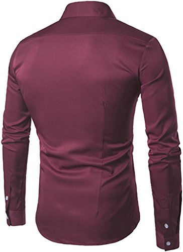 Whatlees Mens Solid Long Sleeve Slim Fit Button Down Dress Shirt B405-Red-S